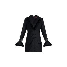 Black Frill Blazer Dress