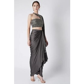Silver Dhoti Skirt With Embroidered Blouse