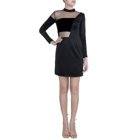 Black Velvet Collar Dress