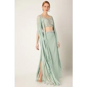 Sea Green Embroidered Draped Skirt Set