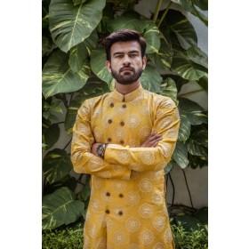 Mustered Lakhanvi Kurta Set