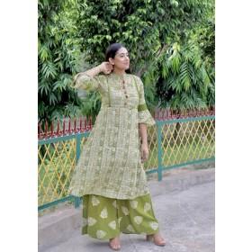 Batik Suit Set in Schiffli