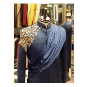 Draped embroidered indo western kurta sherwani