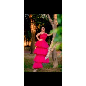 Cinderella hot pink tulle gown